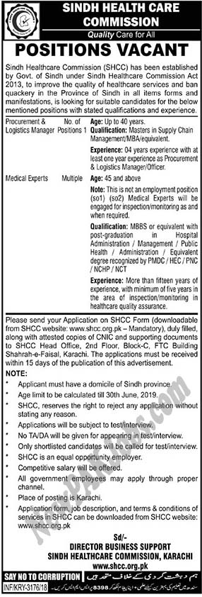 Sindh Healthcare Commission latest Govt Jobs