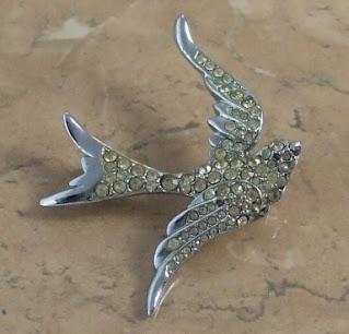 Vintage swallow brooch 1970s
