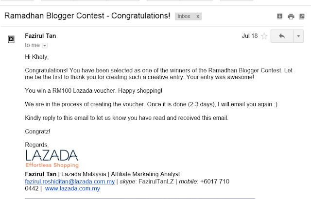 Menang Voucher Lazada Ramadhan Blogger Contest Shopping di lazada menggunakan voucher