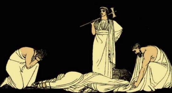 L'assassinio di Agamennone da parte di sua moglie Clitennestra e forse anche del suo amante Egisto.