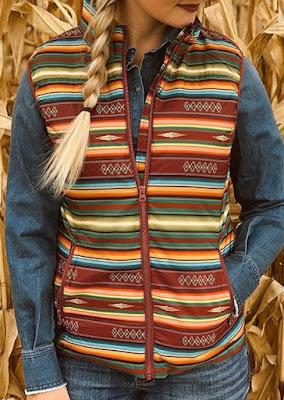 Color Block Serape Striped Geometric Sleeveless Vest Coat