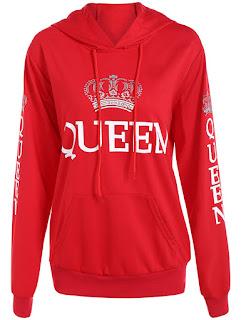 Drawstring Queen Print Hoodie