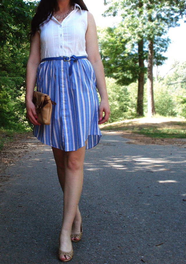 DIY dress from Oxford-button up shirts, Target wedges, thrifted clutch