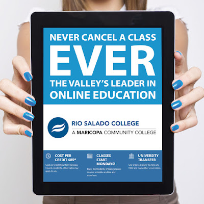 "Graphic shows a woman holding a tablet that reads, ""Never cancel a class ever. The valley's leader in online education"""