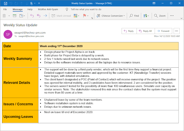 Email Update to Stakeholders Template