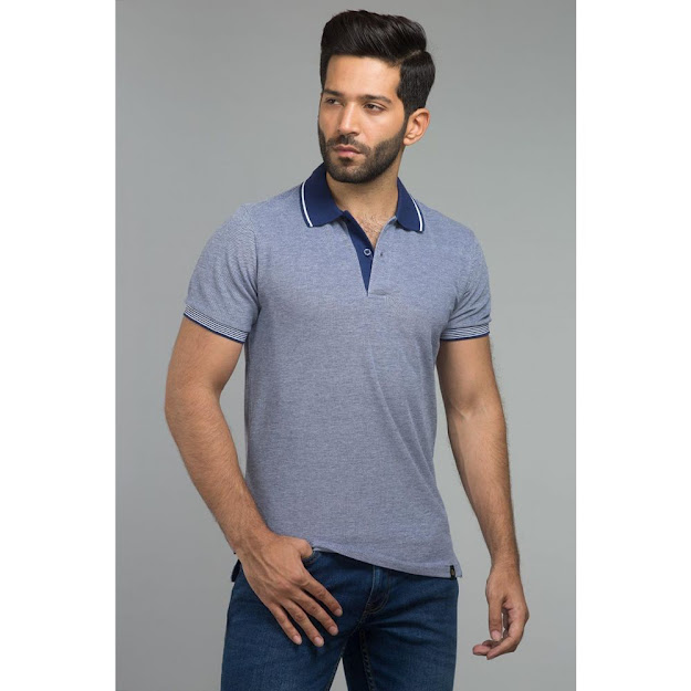 Gul Ahmed Blue color polo fashion shirts collection