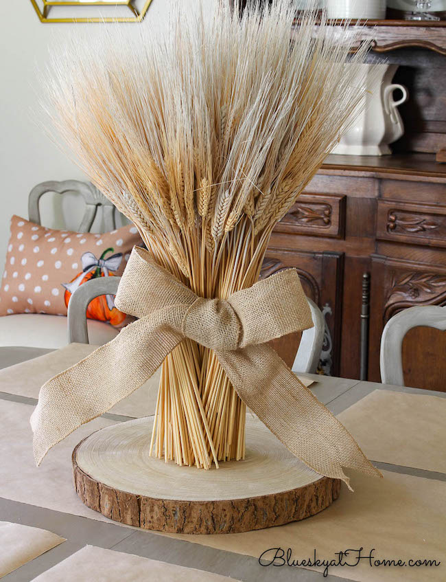 How to Make a Wheat Bundle Thanksgiving Centerpiece at Bluesky at Home featured on Pieced Pastimes