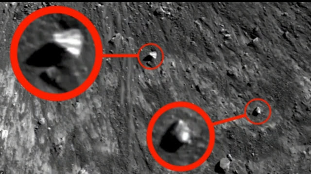 NASA photo shows evidence of real UFOs circled in red on the Moon.