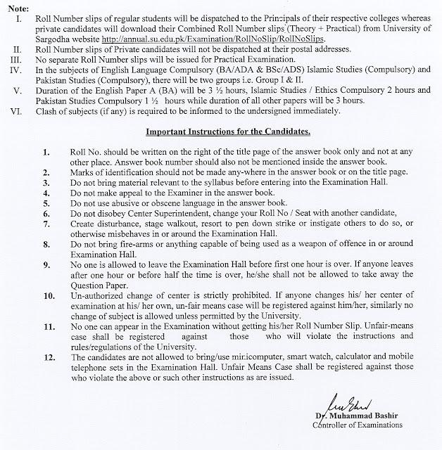 BA /B.Sc/B.Com/ADA/ADS/ADC Part.1,2 Annual 2021 Exams Date Sheet the University of Sargodha