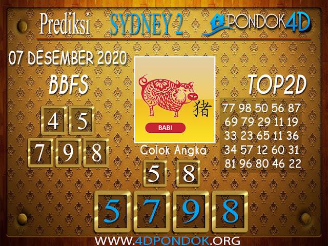 Prediksi Togel SYDNEY2 PONDOK4D 07 DESEMBER 2020