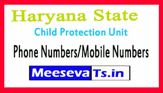 District Child Protection Unit (DCPU)Phone Numbers/Mobile Numbers in Haryana State