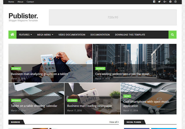 Publister - Responsive Blogger Template