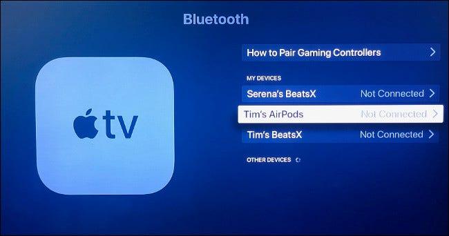 قم بإقران AirPods بجهاز Apple TV الخاص بك يدويًا