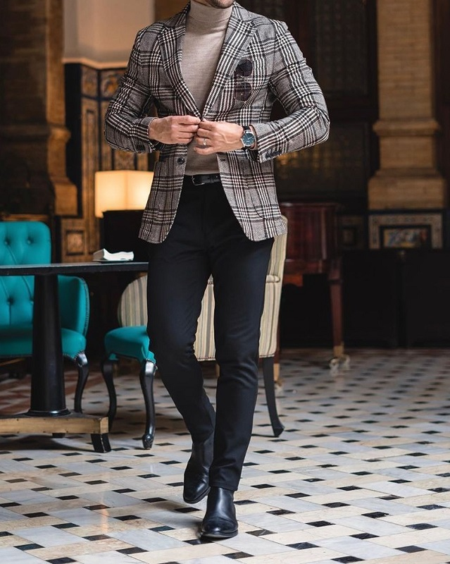 High neck paired with jacket and trousers.