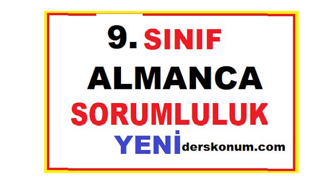 9.SINIF ALMANCA SORUMLULUK SINAV SORULARI ve CEVAPLARI