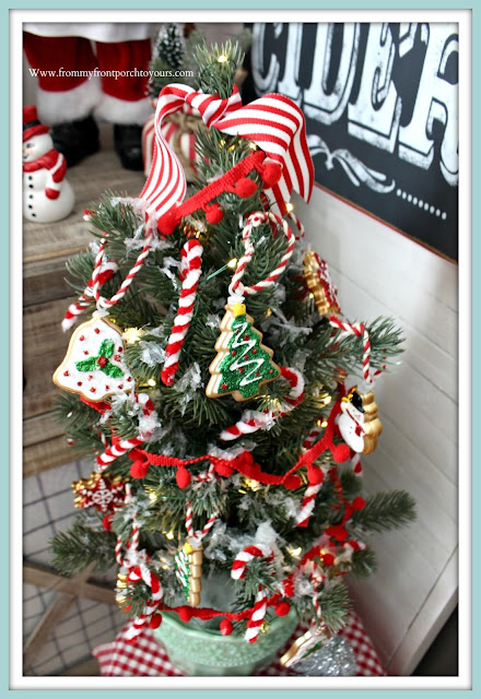 Cottage-Style-Farmhouse-Style-Gingerbread-Candy Canes-Mini-Tree-Breakfast -Nook -Christmas- Decor-From My Front Porch To Yours