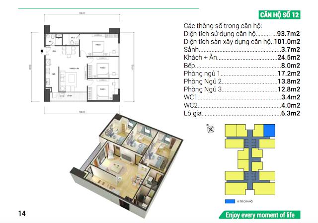 Thiết kế căn hộ 12 chung cư Housinco Grand Tower