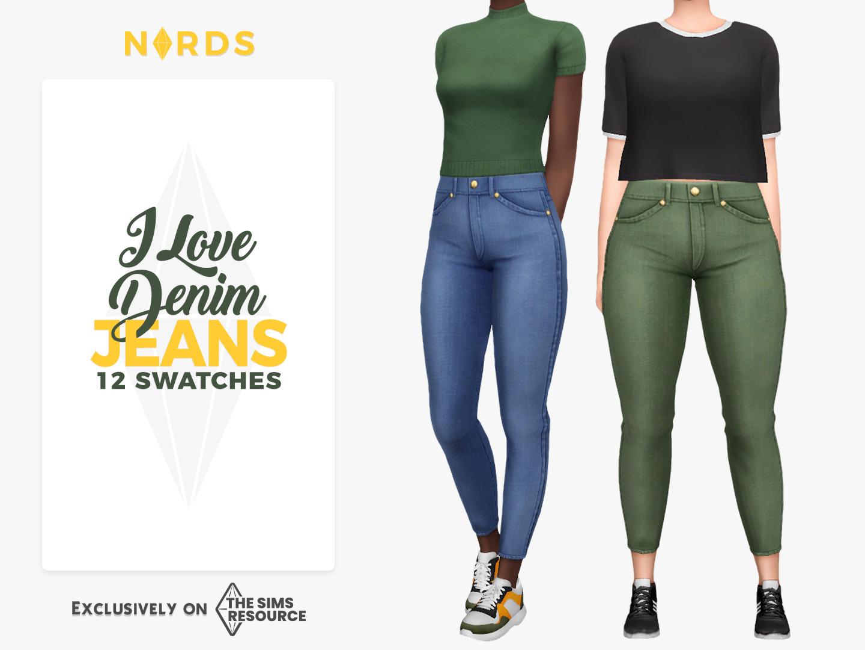 I Love Denim Jeans Sims 4 CC Bottom