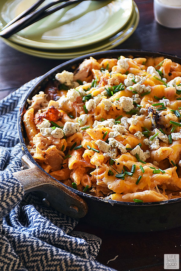 Buffalo Chicken Pasta all in one skillet on the table ready to serve