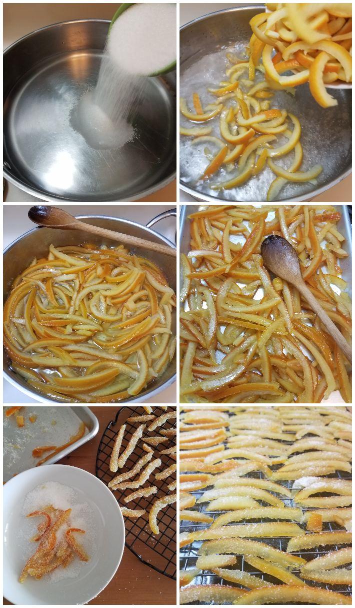 Cómo hacer las cáscaras de naranja confitadas paso a paso, collage de 6 fotos