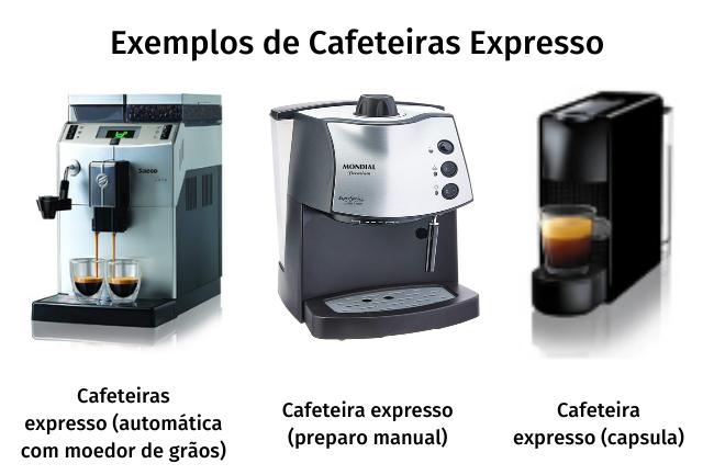 Exemplos de cafeteiras expresso