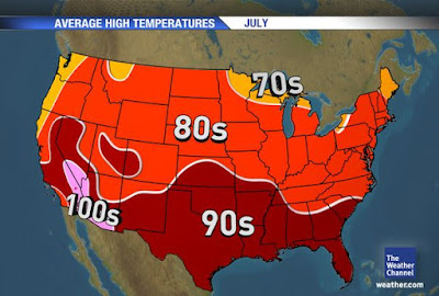 Average temps in the US for the month of July (Summer)