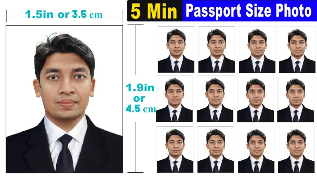 5 min create complete passport size photo