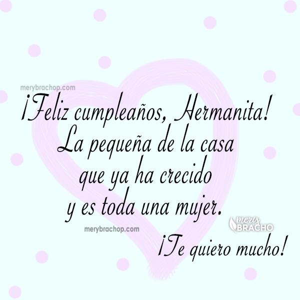 tarjeta con saludo tierno hermanita hermana feliz cumpleaños la pequeña