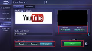klik mulai untuk live streaming mobile legends
