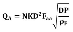 Fórmula o ecucación de caudal volumétrico para gases de un tubo Annubar