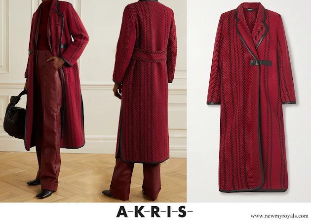 Princess Charlene wore an AKRIS leather-trimmed wool-blend tweed coat
