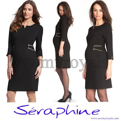 7f47c6e5ec9 Crown Princess Victoria wore a new Seraphine Black Zip Detail Maternity  Dress ...