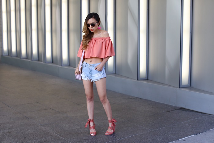 NBD x REVOLVE No Type Top, off shoulder top, one teaspoon beauty bandit short, one teaspoon shorts, baublebar tassel earrings, missguided lace up sandals, festival look, Loeffler Randall bag, komono sunglasses, street style