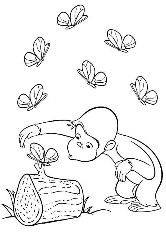 Hình tô màu con khỉ chơi với con bướm