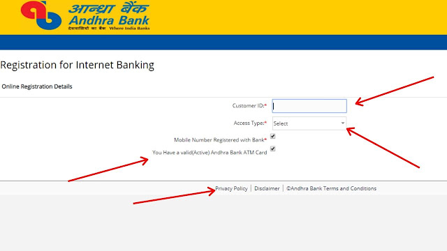 Andhra Bank Net Banking registration