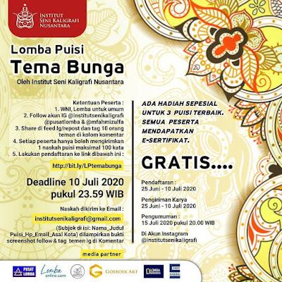 Lomba Menulis Puisi Tema Bunga Oleh Institut Seni Kaligrafi Nusantara