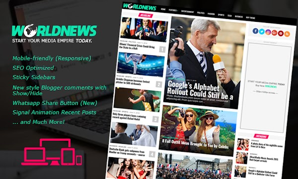 WorldNews Professional Magazine Blogger Template Free Download
