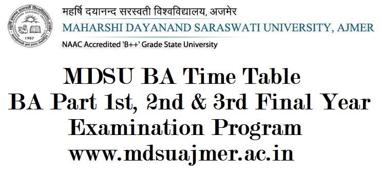MDSU Tiime Table 2021, MDSU BA 3rd Year Time Table 2021, MDSU Ajmer BA Final Year Time Table 2021