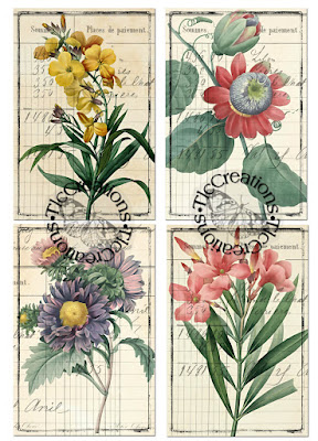 Vintage Printable Flower Garden Watercolor...