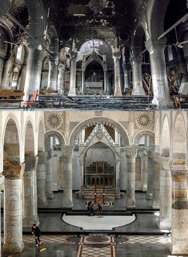 A igreja de Nossa Senhora de Qaraqosh profanada pelos islâmicos (acima) e restaurada hoje (embaixo)