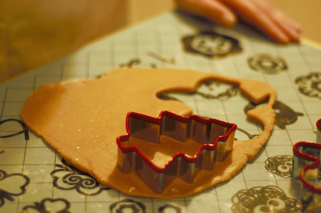 Cut out the gingerbread cookies