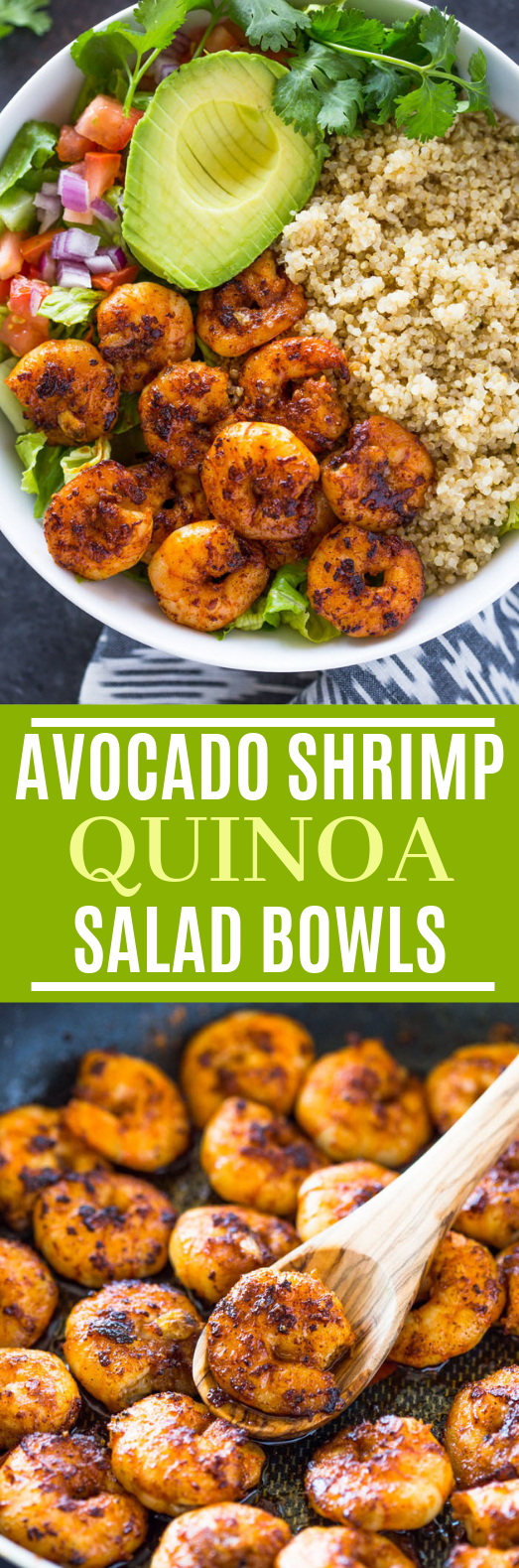 Shrimp Avocado Quinoa Bowls #healthy #lowcarb