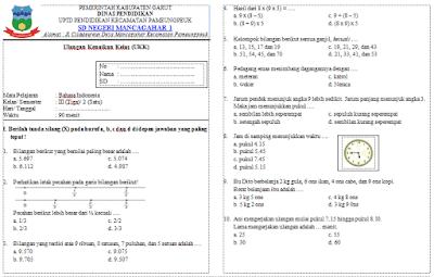 Soal UKK Matematika Kelas 3 SD/MI