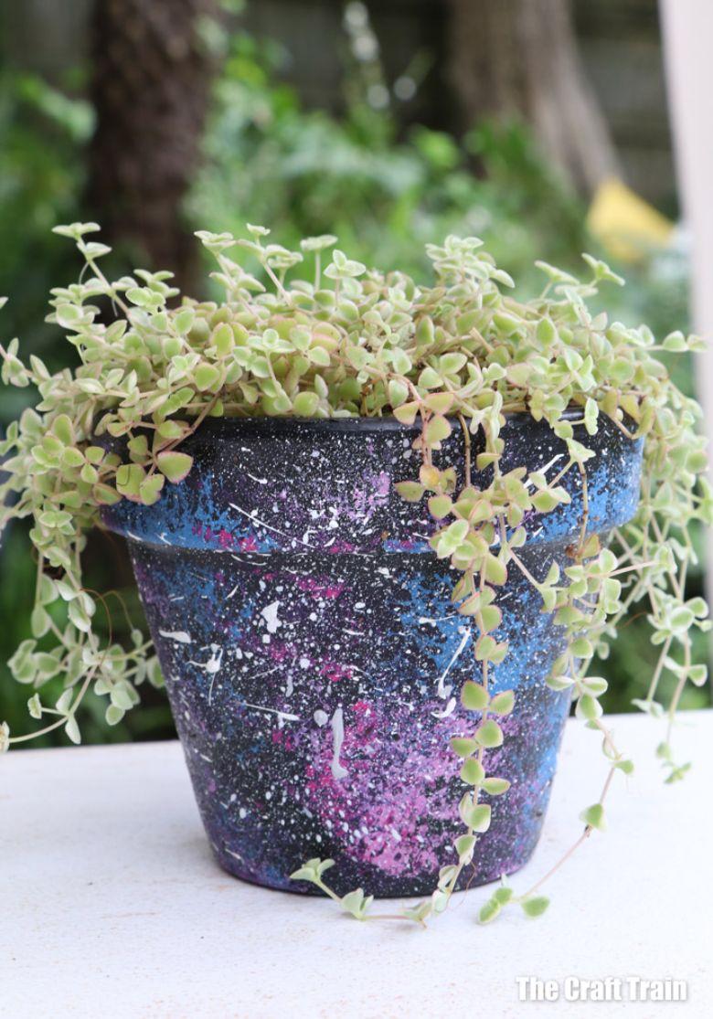 Galaxy flower pot craft