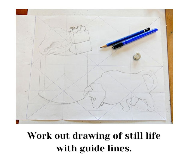 Drawing with guidelines for painting.