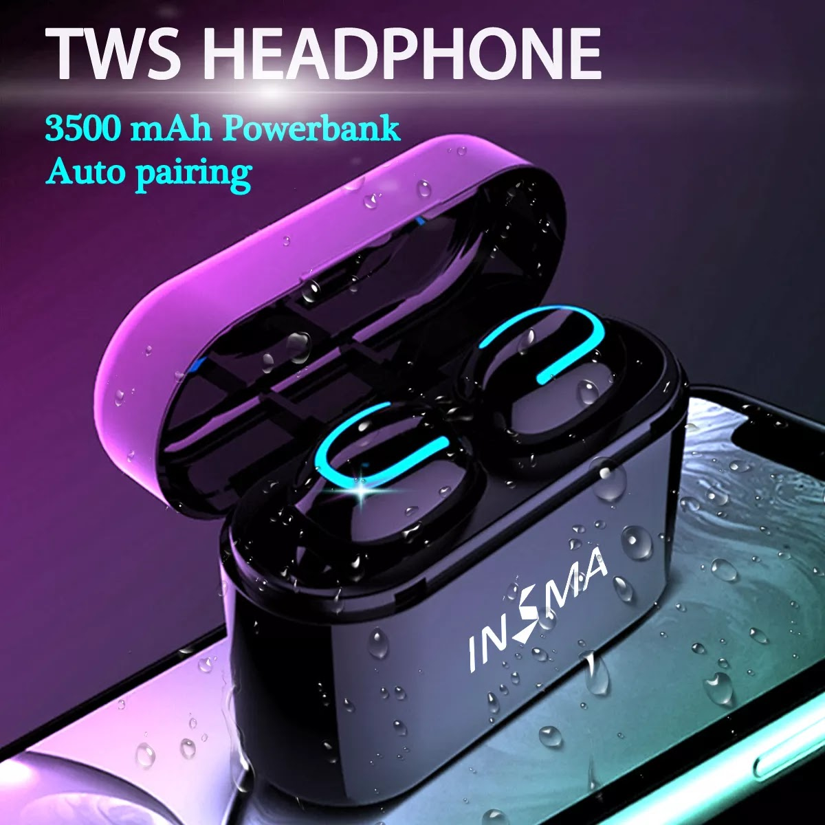 88cb69678 INSMA VFM-1 TWS Bluetooth 5.0 Earphone 3500mAh Power Bank CVC6.0 Noise  Cancelling