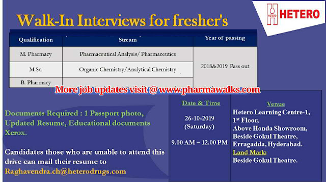 Walk-in interview for Freshers on 26th October, 2019 @ Hetero Labs