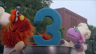 Murray and Ovejita introduce the number 3 with Number Cookoff. Sesame Street Episode 4420, Three Cheers for Us, Season 44