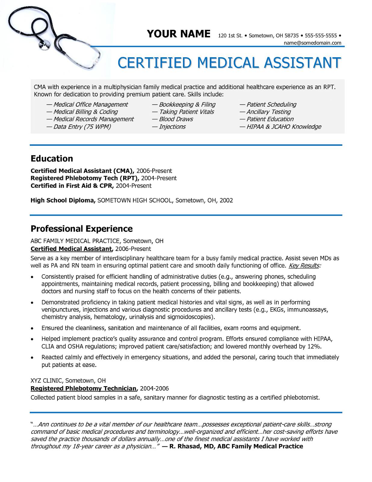 Certified Medical Assistant Resume Sample Sample Of A Medical Assistant Resume Sample Resumes