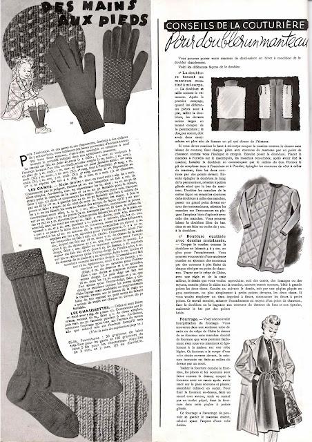 magazine mode et travaux octobre 1942 gants chaussettes et doubler un manteau